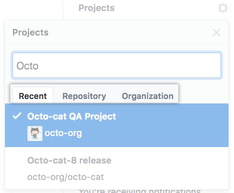 Guias Recent (Recente), Repository (Repositório) e Organization (Organização)