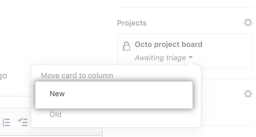 Menu Move card to column (Mover cartão para coluna)