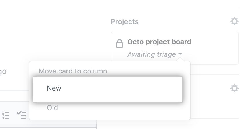 Menú Move card to column (Mover tarjeta a la columna)