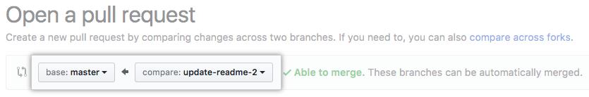 Menus suspenso para escolher a base e comparar os branches