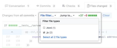 Menu suspenso File filter (Filtro de arquivo)
