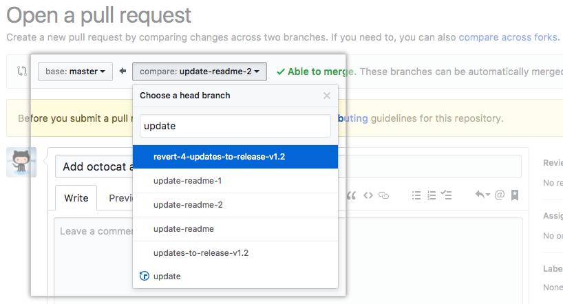 Branches de edição da pull request