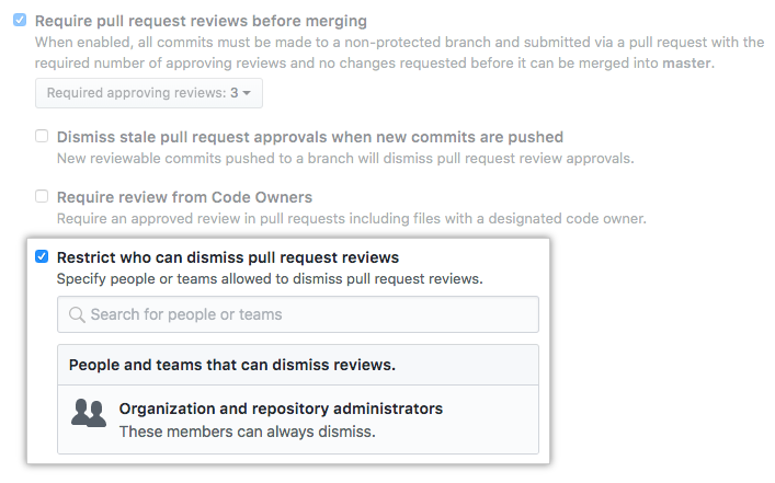 [Restrict who can dismiss pull request reviews] チェックボックス