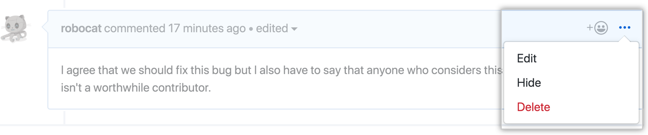 The horizontal kebab icon and comment moderation menu showing the edit, hide, delete options