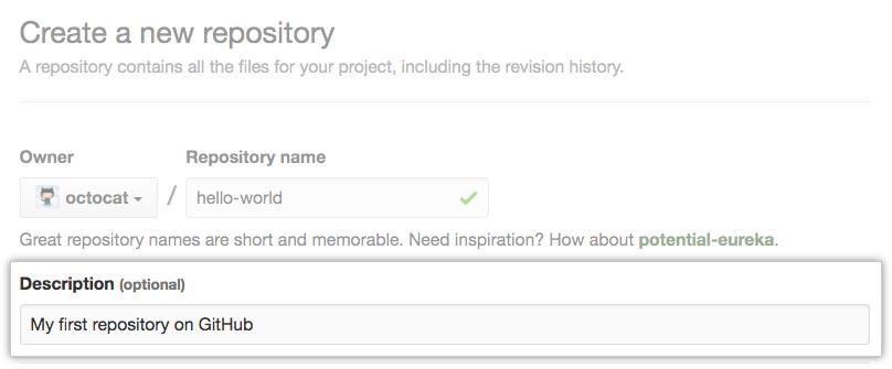 Field for entering a repository description