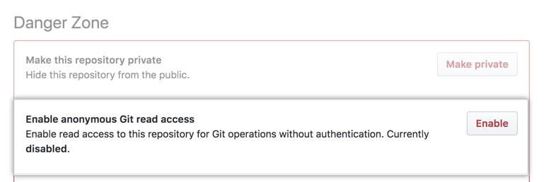 """Botão """"Enabled"""" (Habilitar) em """"Anonymous Git read access"""" (Acesso de leitura anônimo do Git)"""