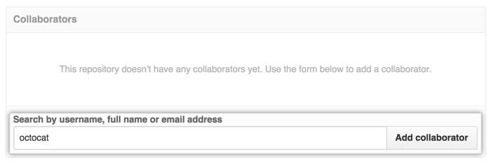 La sección Collaborators (Colaboradores) con el nombre de usuario de Octocat ingresado en el campo de búsqueda