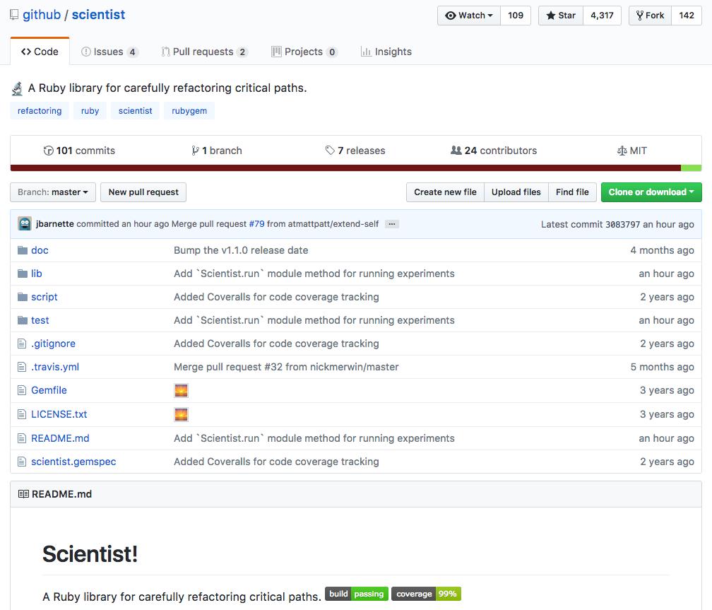 Github/scientist 仓库的主页面及其自述文件
