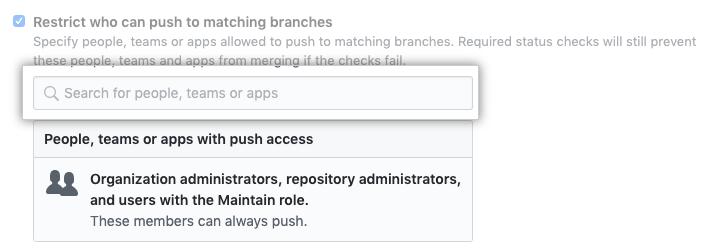 Pesquisa de restrição de branch