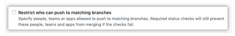 Caixa de seleção Branch restriction (Restrição de branch)