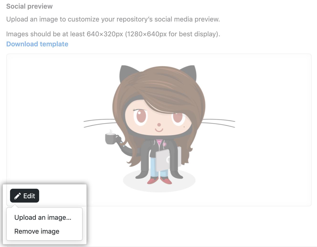 Menu suspenso Social preview (Visualização social)