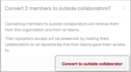 Information on outside collaborators permissions and Convert to outside collaborators button