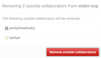 Lista de colaboradores externos que serão removidos e botão Remove outside collaborators (Remover colaboradores externos)
