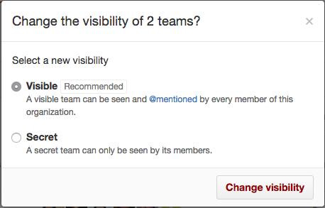 Botões de opção para tornar uma equipe visível ou secreta e botão Change visibility (Alterar visibilidade)