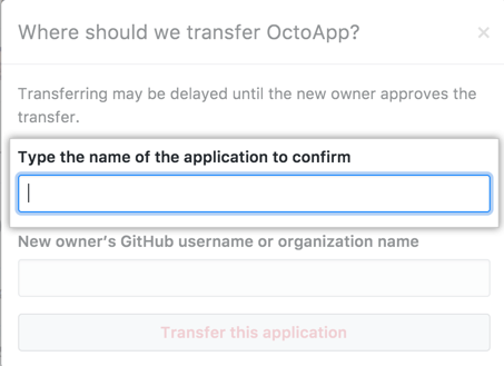 Field to enter the name of the app to transfer