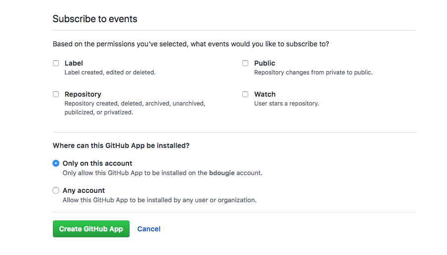 Privacidade do aplicativo GitHub