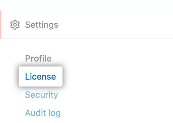 """License"" tab in the enterprise account settings sidebar"