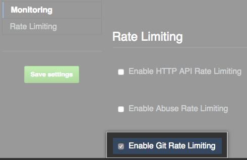 用于启用 Git 速率限制的复选框