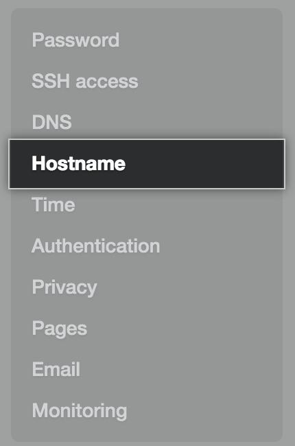 Aba de host na barra lateral de configurações