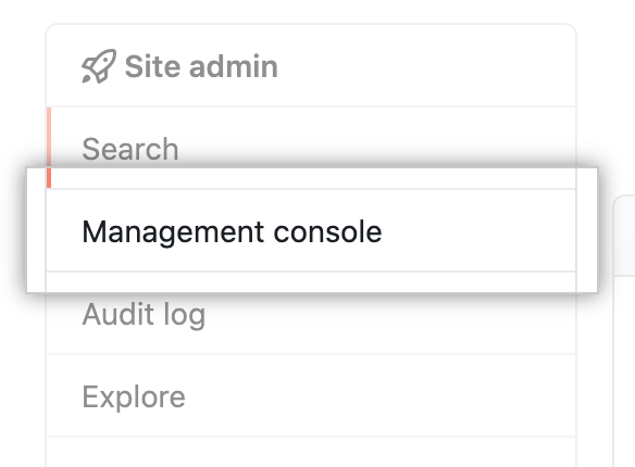 Management Console tab in the left sidebar