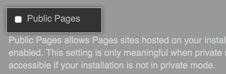 Caixa de seleção para deixar o Pages acessível publicamente