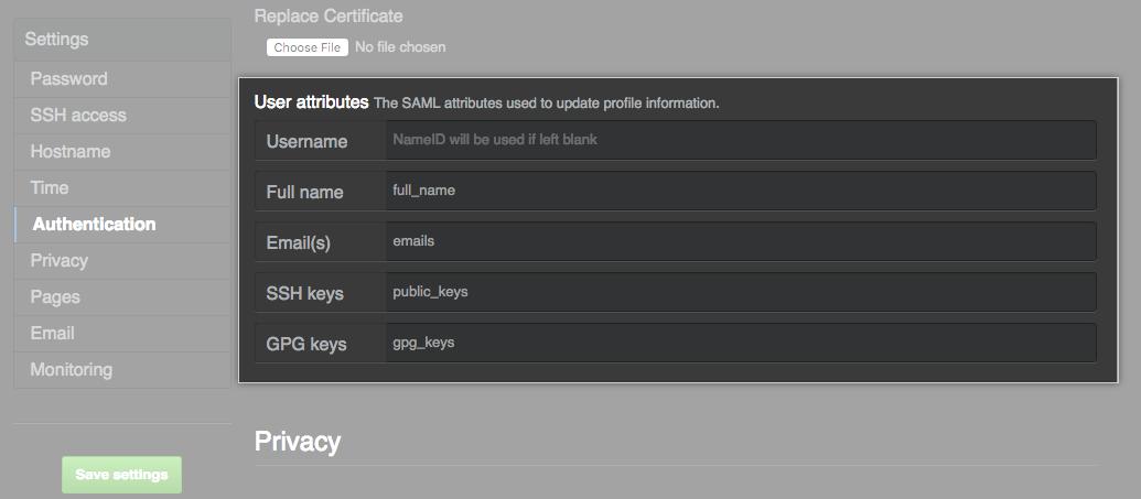 Nombres de atributo de SAML