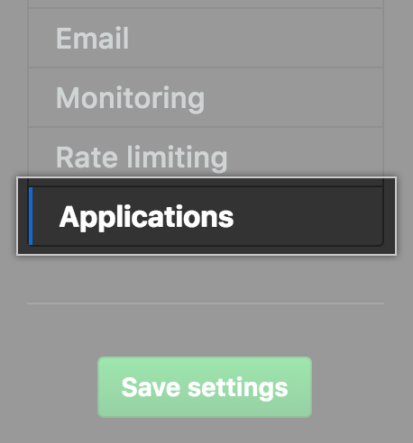 Applications tab in the settings sidebar