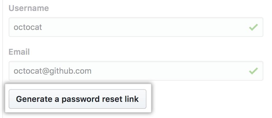 Botón de generar un enlace para restablecer la contraseña
