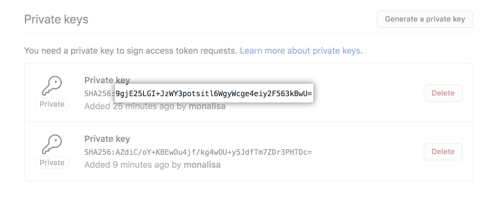 Huella digital de llave privada