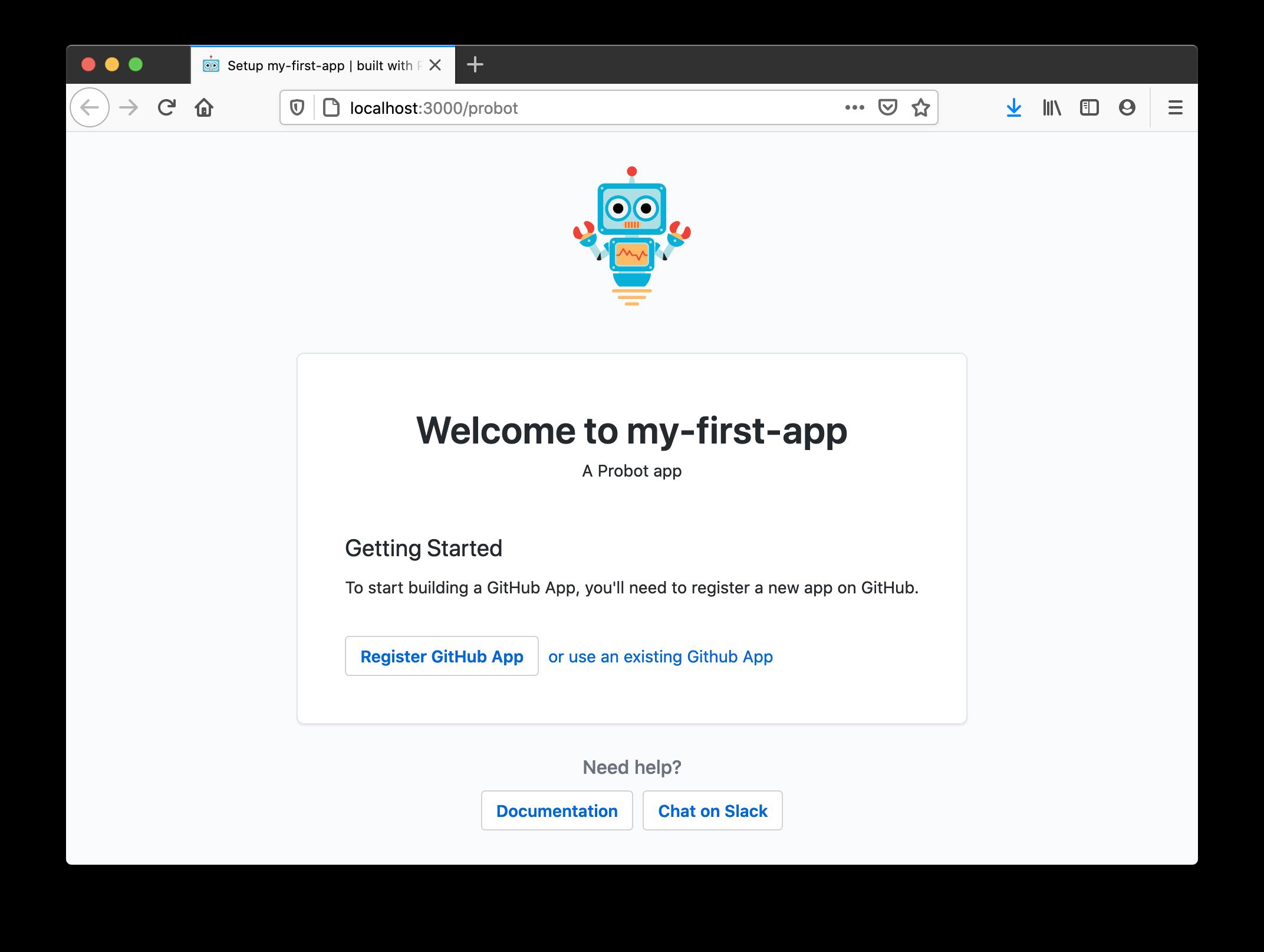 注册 Probot GitHub 应用程序