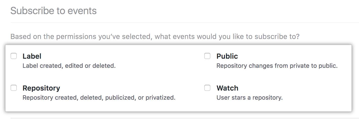 Inscreva-se nas opções de eventos para seu aplicativo GitHub