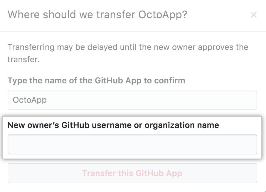 Campo para ingresar el usuario u organización al cual se transferirá la app