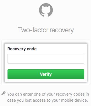 リカバリコードを入力するフィールドおよび [Verify] ボタン