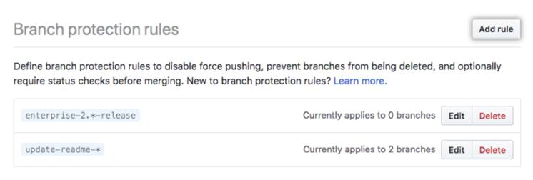 Botão de adicionar regra de proteção do branch