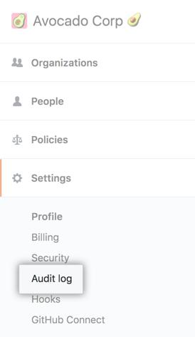 Audit log tab in the enterprise account sidebar
