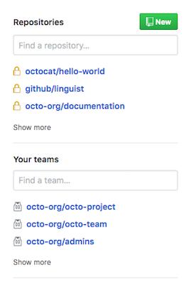 さまざまな Organization のリポジトリや Team のリスト