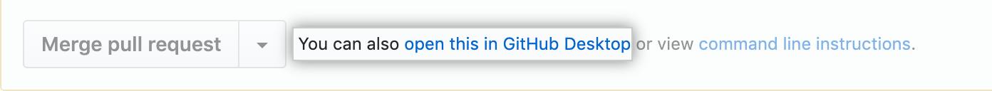 Link para abrir uma pull request localmente no Desktop