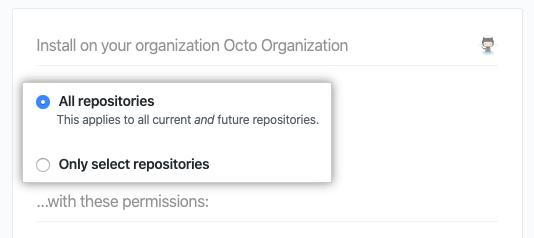 Caixas de seleção para adicionar todos os repositórios ou selecionar repositórios
