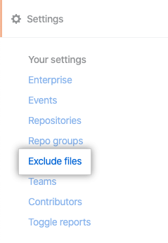 Exclude files tab