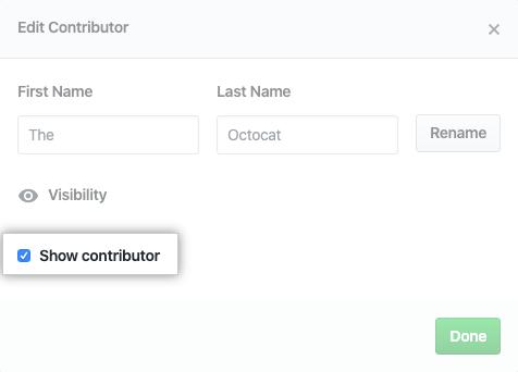 Caixa de seleção para mostrar ou ocultar contribuidor
