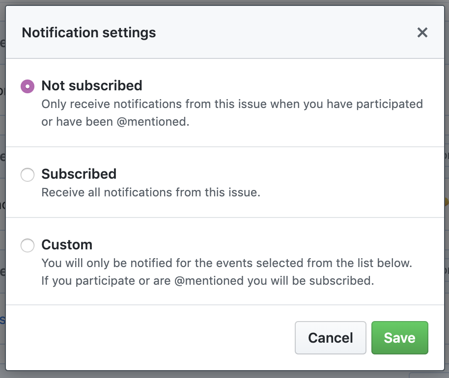 Conversation Subscribe options list