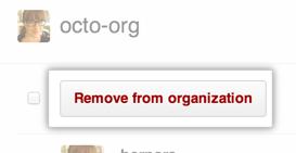 Remove from organization button