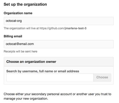 Página Add organization owner (Adicionar proprietário da organização)