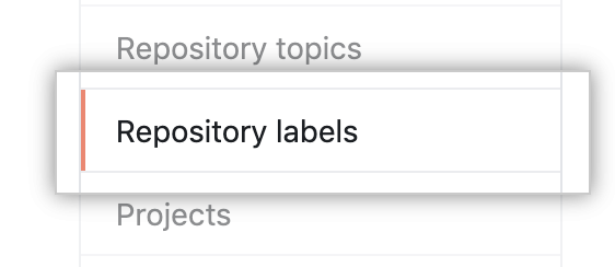 Repository labels tab