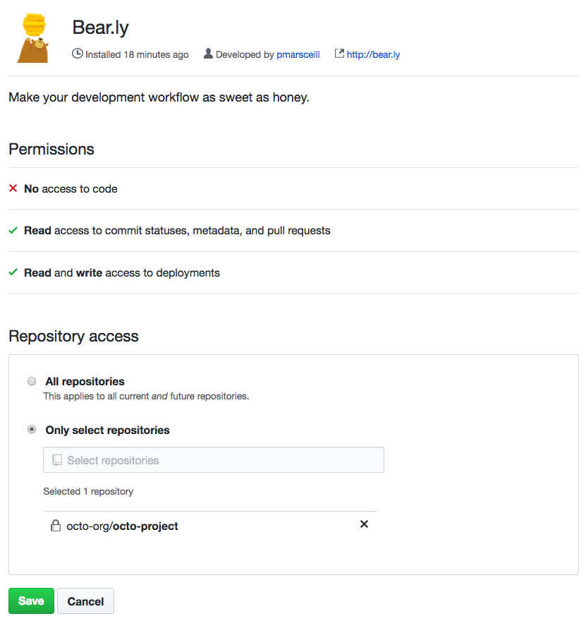 Option to give the App GitHub access to all repositories or specific repositories