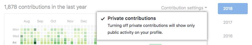 Habilitar visitantes para ver contribuições privadas a partir do menu suspenso contribution settings (configurações de contribuição)