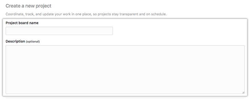 Campos para o nome e descrição do projeto e botão Criar projeto