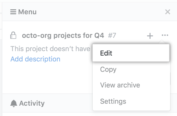 Edit option in drop-down menu from project board sidebar