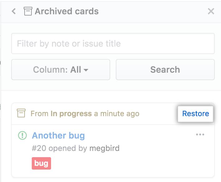 プロジェクトボードカードのリストアの選択
