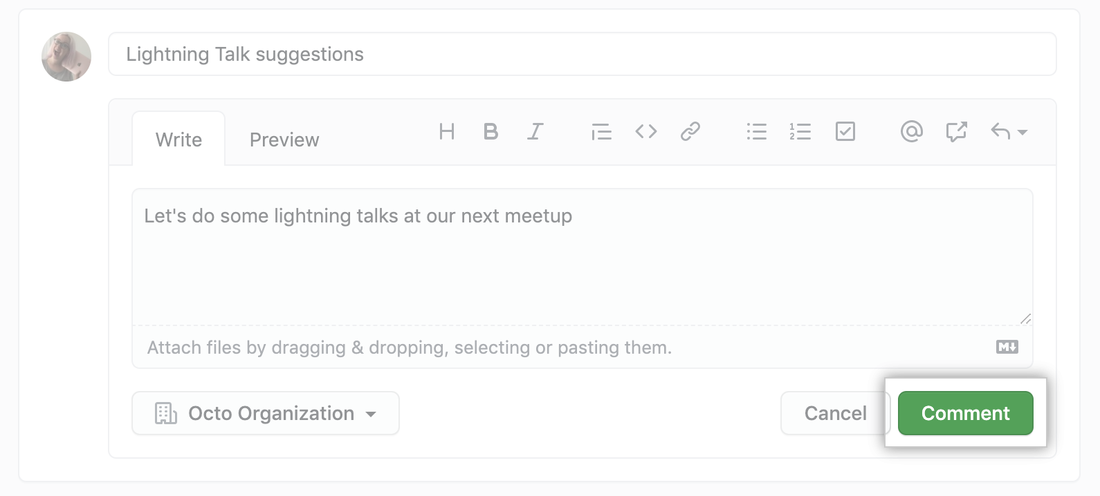 Create new team discussions comment button